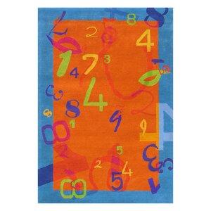 Fantasia Orange/Blue Number Area Rug