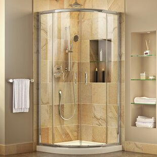 Prime 38 inch  x 74.75 inch  Round Sliding Shower Enclosure with Base Included