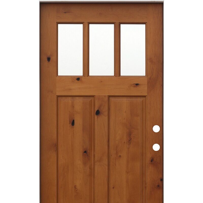 Creativeentryways Shaker Craftsman 3 Lite Ready To Install Wood Prehung Front Entry Door Reviews Wayfair