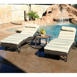 World Wide Wicker Tampa 3 Piece Chaise Lounge Set with Cushion