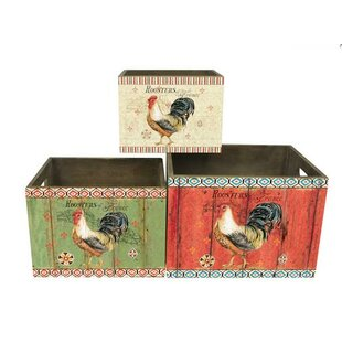 Rooster Themed Wooden 3 Piece Cube Set By Gracie Oaks