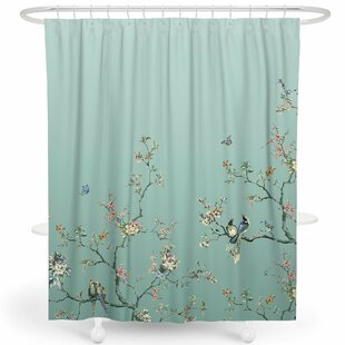 Robinett Flower Birds Single Shower Curtain