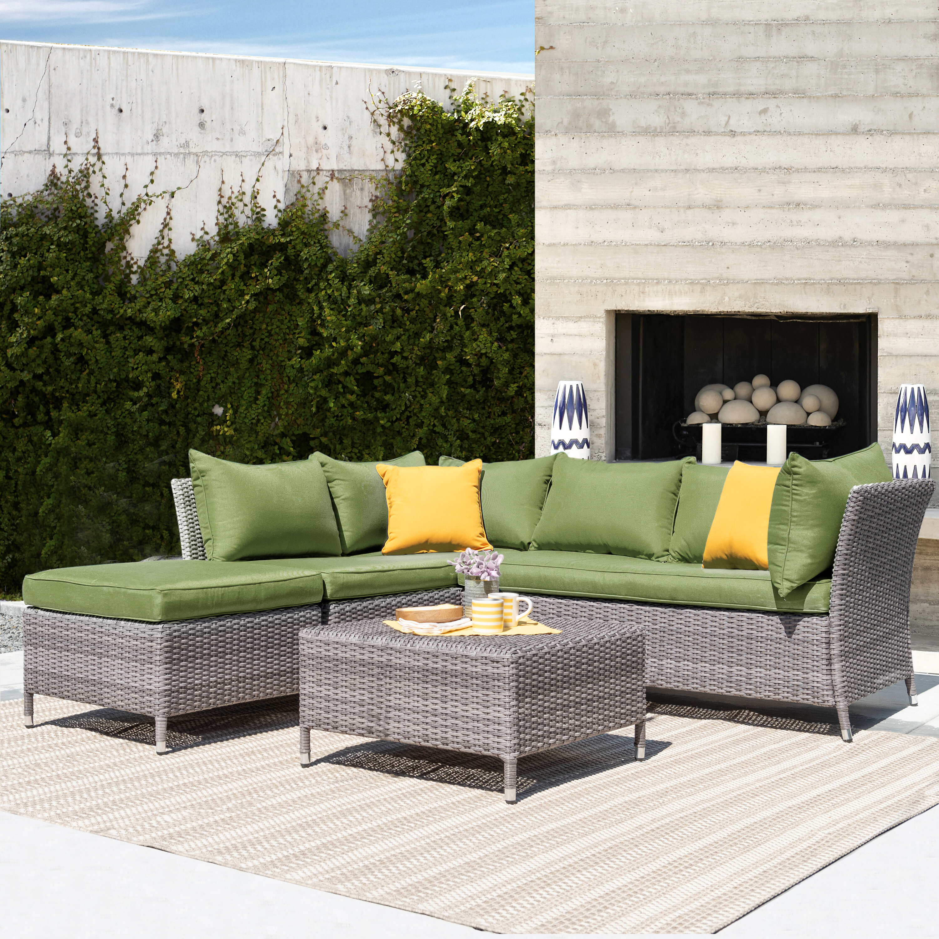 Ivy Bronx Ellenburg 4 Piece Rattan Sectional Seating Group With Cushions Reviews Wayfair
