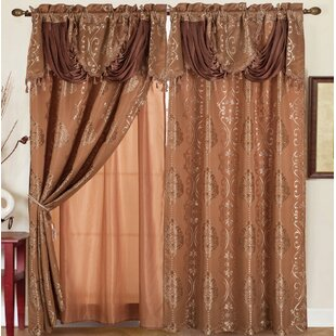 Anderle Jacquard Floral/Flower Semi-Sheer Rod Pocket Single Curtain Panel by Astoria Grand