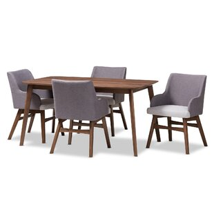 Dinger Mid-Century Wood Rectangular 5 Piece Dining Set