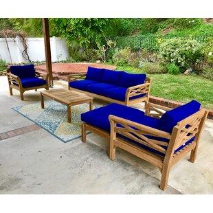 Bayou Breeze Kinde 6 Piece Teak Sunbrella Sofa Set with Cushions