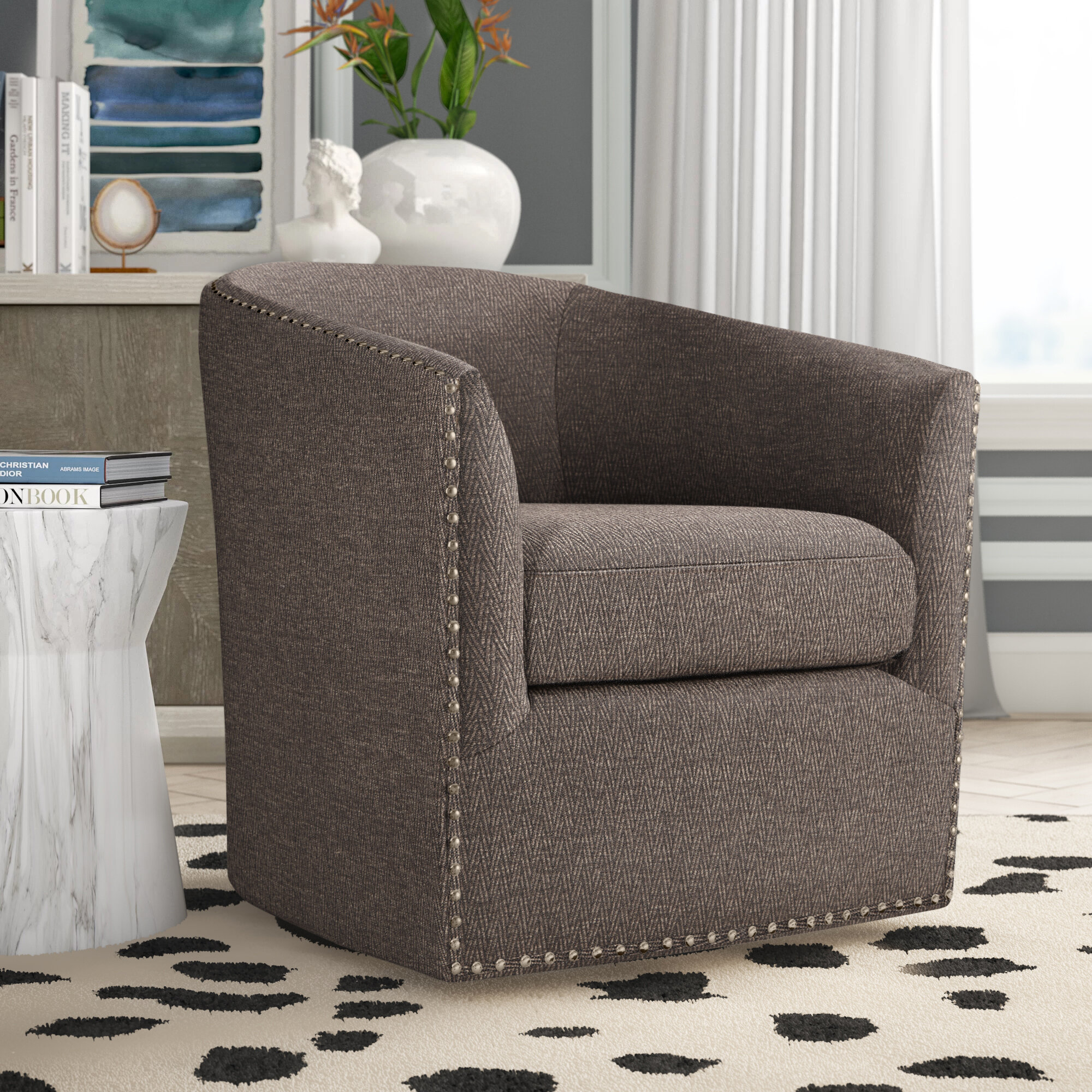 Picture of: Tidwell Swivel Barrel Chair Reviews