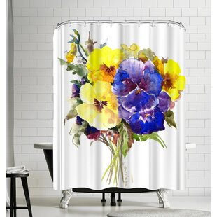 Suren Nersisyan Pansies Flowers Single Shower Curtain