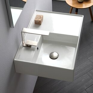 Scarabeo by Nameeks Teorema Ceramic Rectangular Vessel Bathroom Sink with Overflow