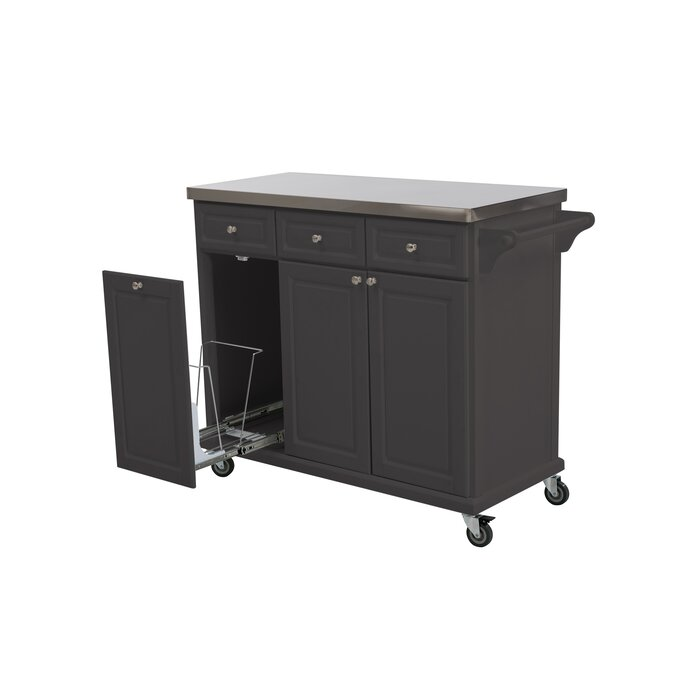 225 & Philippe Kitchen Cart with Stainless Steel Top