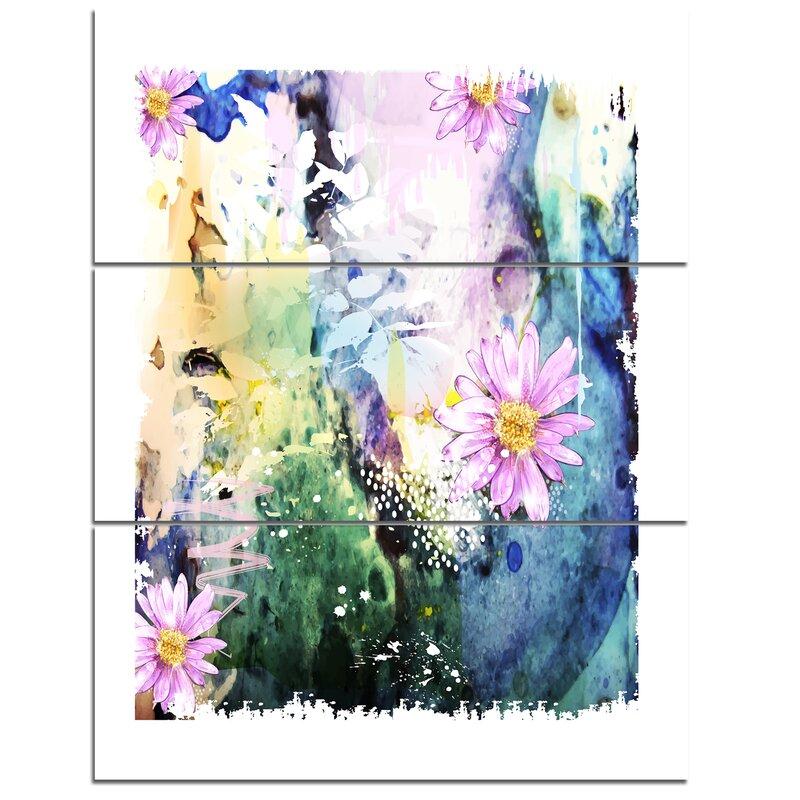 Designart Abstract Blue Pink Floral Art 3 Piece Wall Art On Wrapped Canvas Set Wayfair