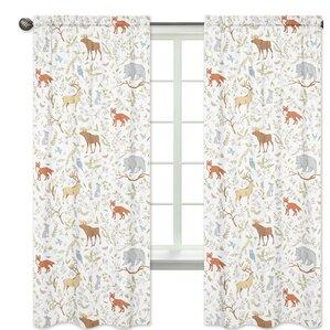 Woodland Toile Wildlife Semi Sheer Rod Pocket Curtain Panels (Set Of 2)