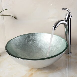 Hand Painted Glass Circular Vessel Bathroom Sink