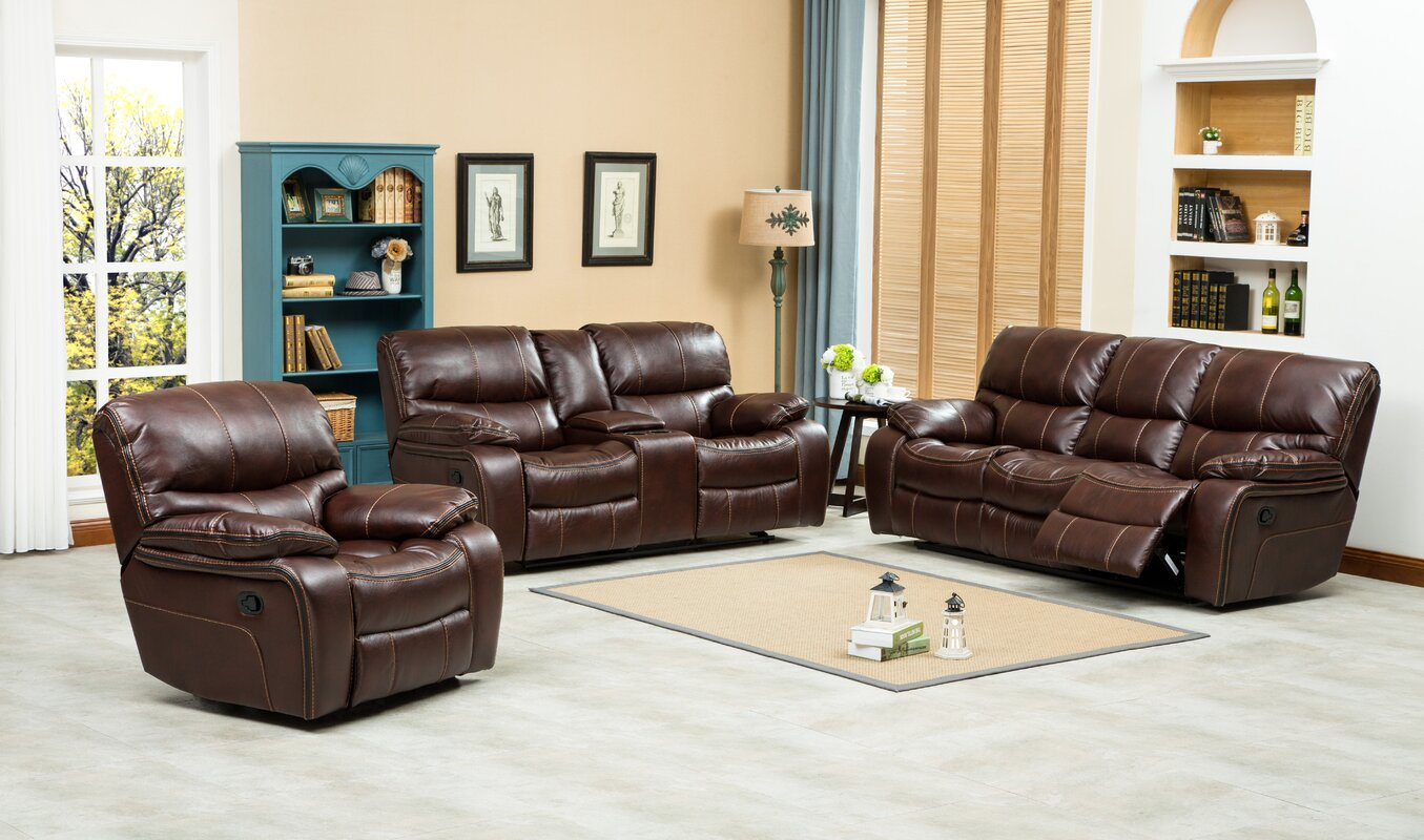 Roundhill Furniture Ewa 3 Piece Leather Living Room Set & Reviews ...