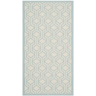 Jefferson Place Beige/Aqua Indoor/Outdoor Rug By Wrought Studio