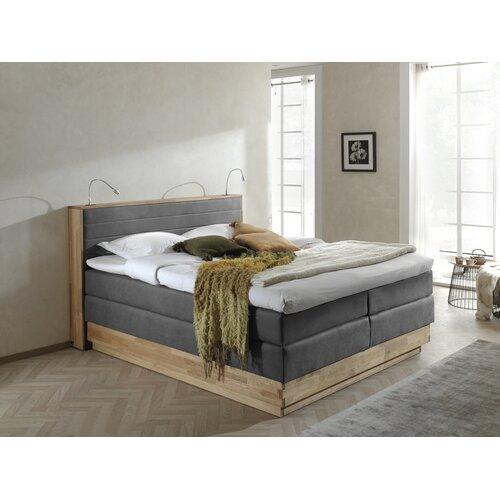 Boxspringbett Moneta mit Bettkasten mit Beleuchtung | Schlafzimmer | Grau | Eiche - Stoff - Massivholz - Mikrofaser | CottaCollection