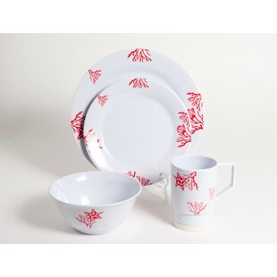 Decorated Coral Melamine 16 Piece Dinnerware Set, Service for 4