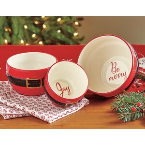 Santa Belt Sentiment Salad Bowl 3 Piece Set