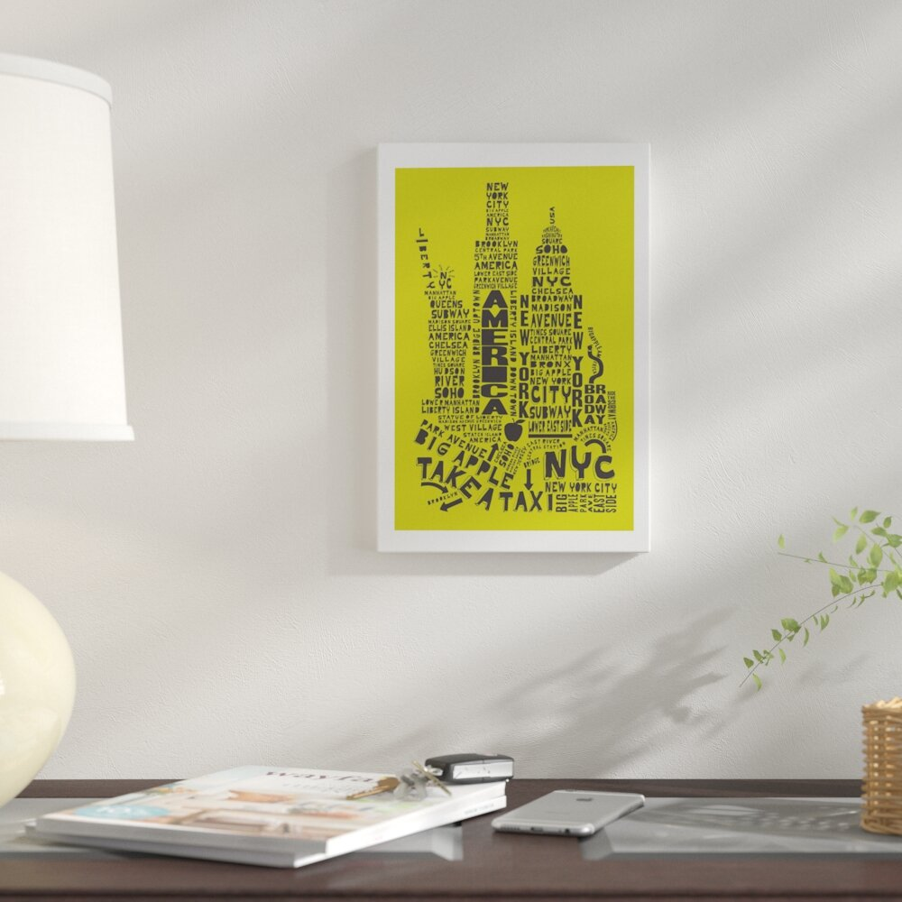 East Urban Home \'New York City\' Graphic Art Print on Canvas in Lime ...