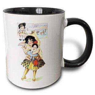 Laramie Cute Little Girl in a Spanish Costume Holding a Doll Coffee Mug