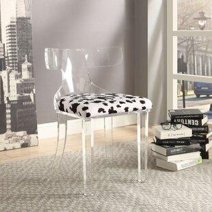 Joetta Spotted Velvet Upholstered Acrylic Frame Side Chair