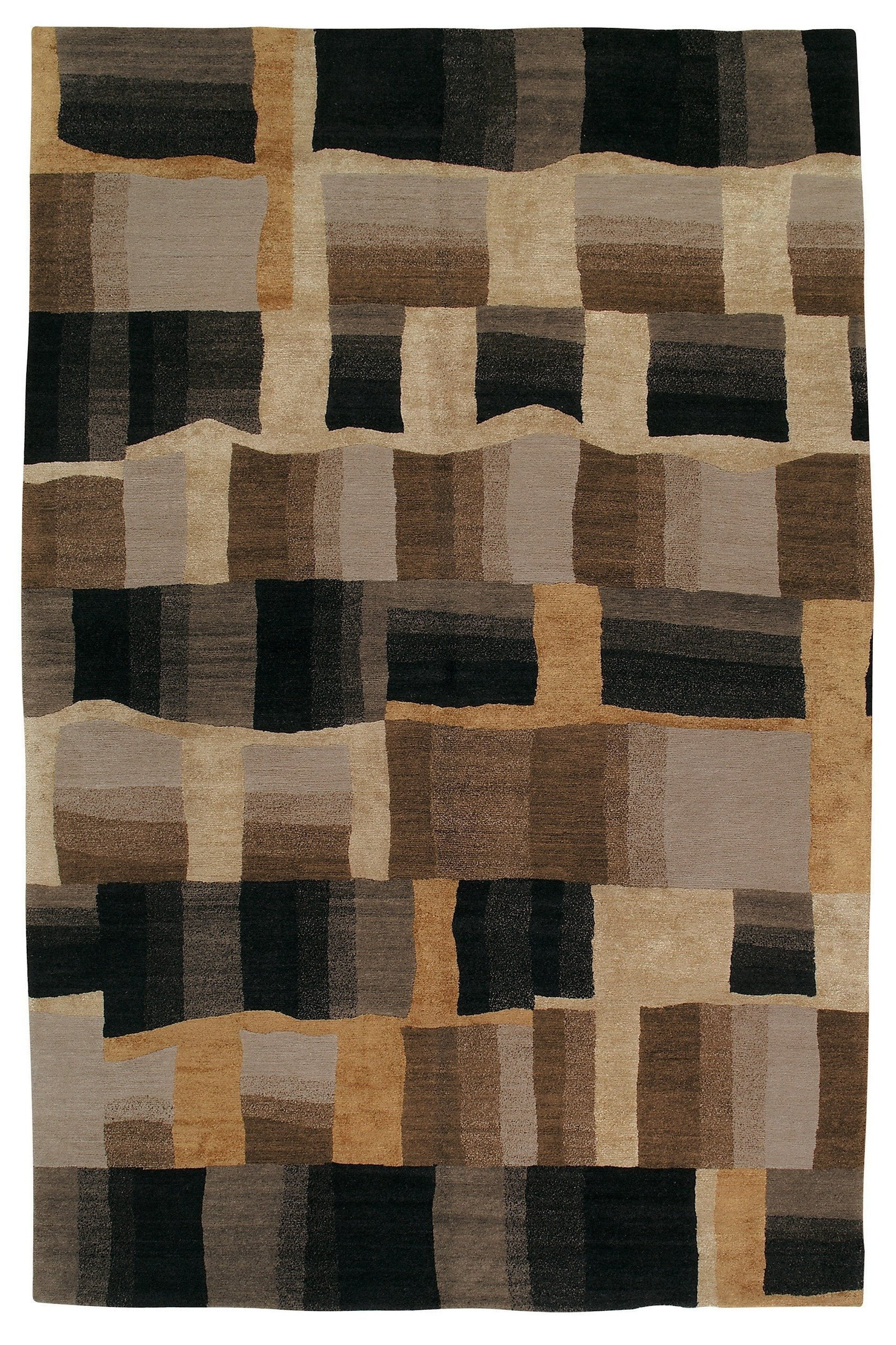 Tufenkian Geometric Hand Knotted Wool Silk Black Brown Area Rug Wayfair