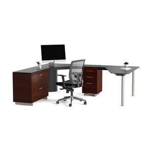 Sequel Glass L-Shape Executive Desk
