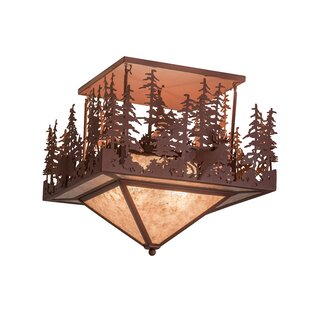 Meyda Tiffany Wildlife at Pine Lake 4-Light Semi-Flush Mount