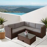 Angeleana Outdoor 4 Piece Rattan Sectional Seating Group with Cushions by Ebern Designs