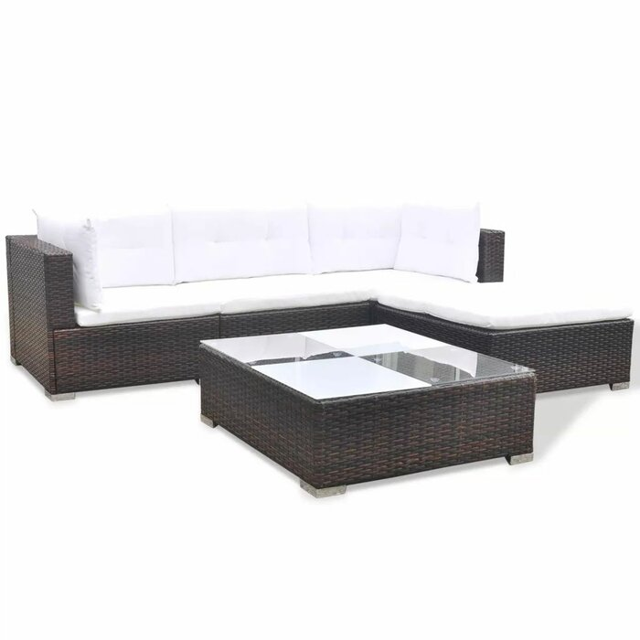 Royals Garden 5 Piece Rattan Sofa Seating Group with Cushions