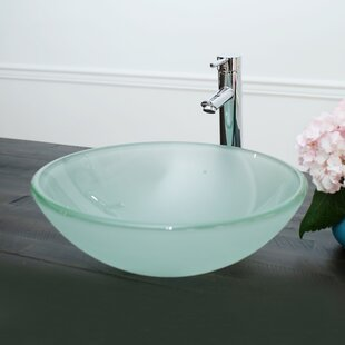 Arsumo Glass Circular Vessel Bathroom Sink with Faucet