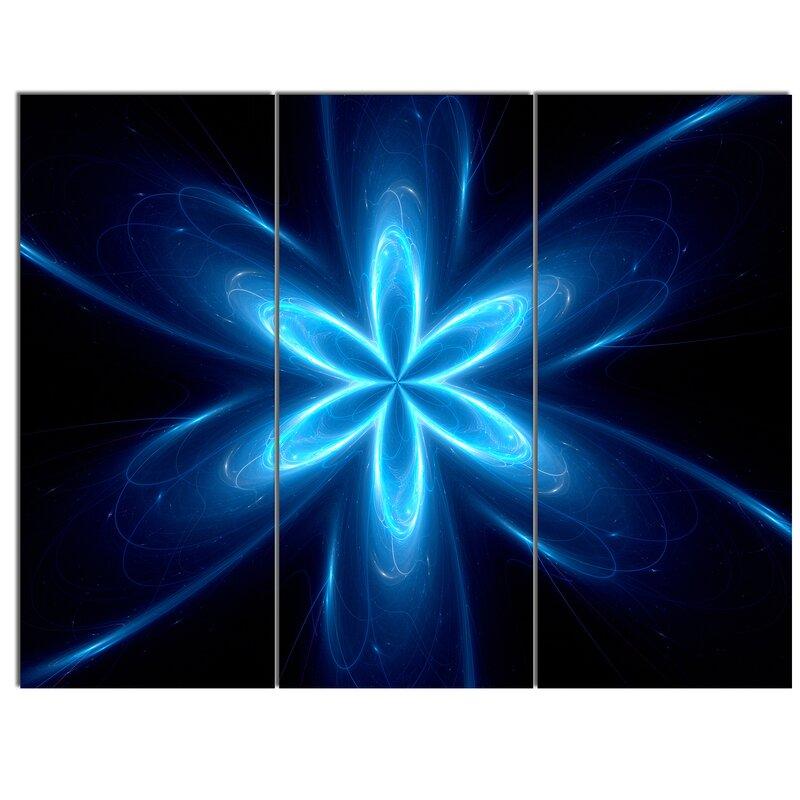 Designart Blue Glowing Space Fractal Flower 3 Piece Graphic Art On Metal Set Wayfair