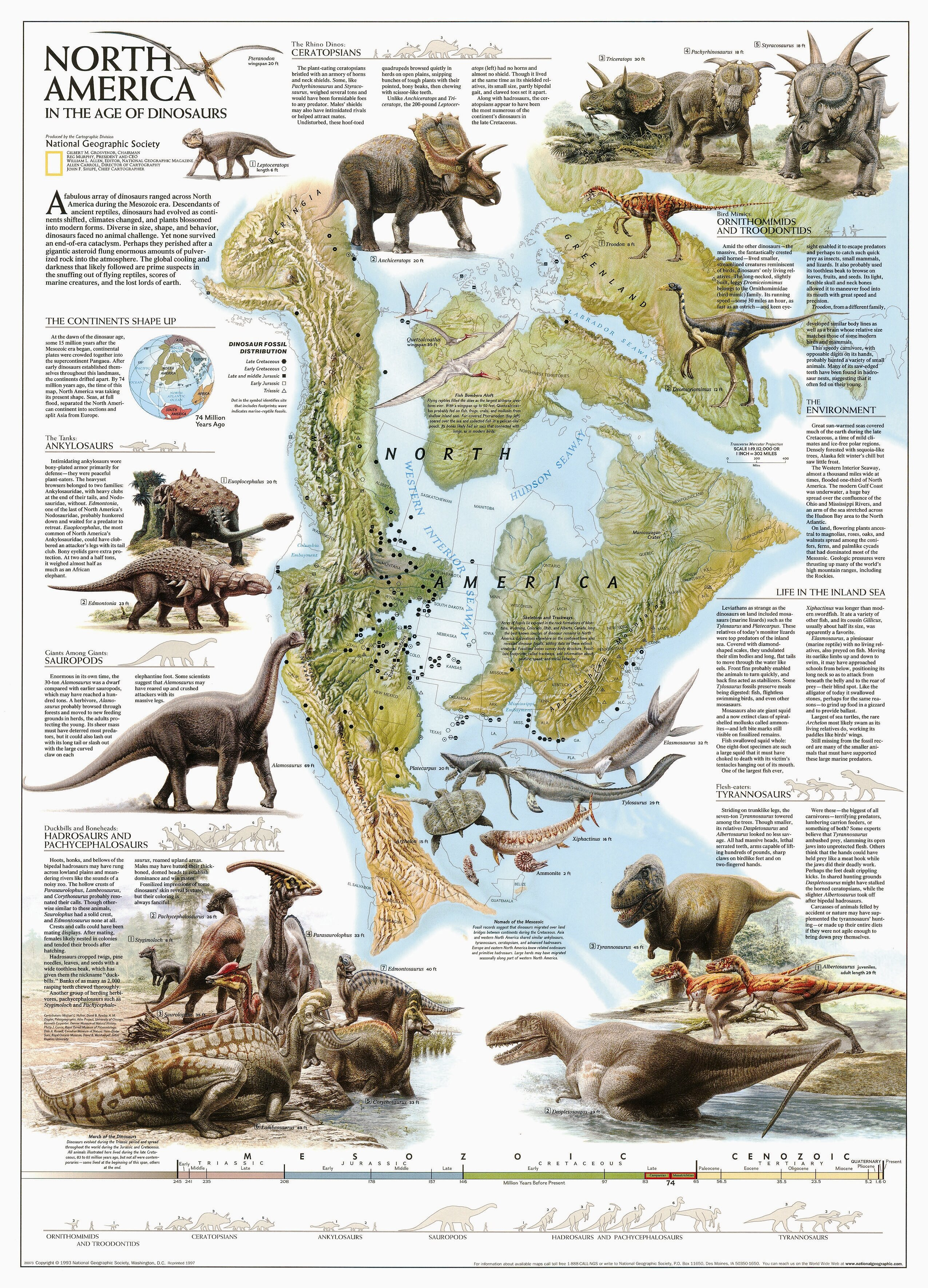 National Geographic Maps Dinosaurs of North America Poster Map ...