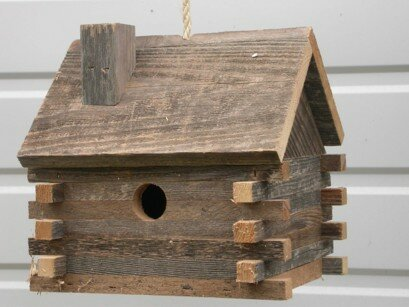 Rough Sawed Log Cabin Birdhouse