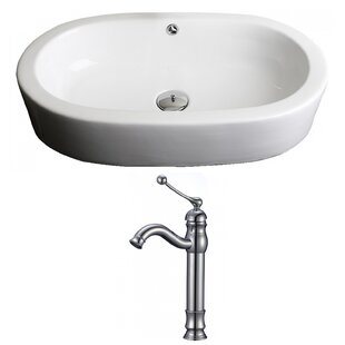 Transition Ceramic Oval Vessel Bathroom Sink with Faucet and Overflow By American Imaginations