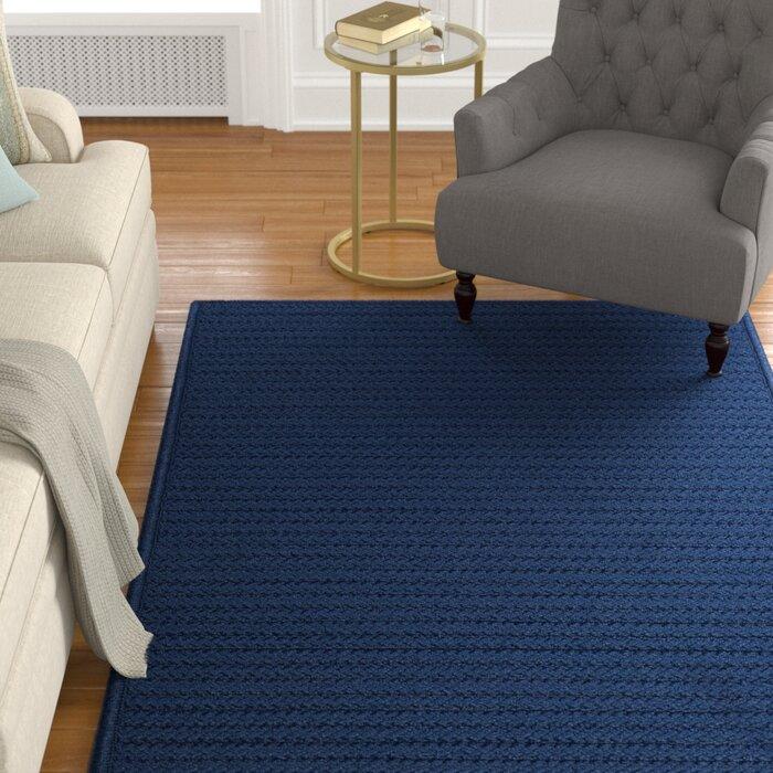 Glasgow Charlton Home Braided Polypropylene Navy Blue Indoor Area Rug