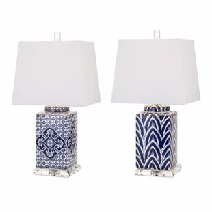 Sonya Hand-Painted Ceramic 2 Piece Table Lamp Set
