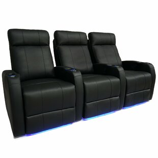 Latitude Run Leather Home Theater Row Seating (Row of 3)