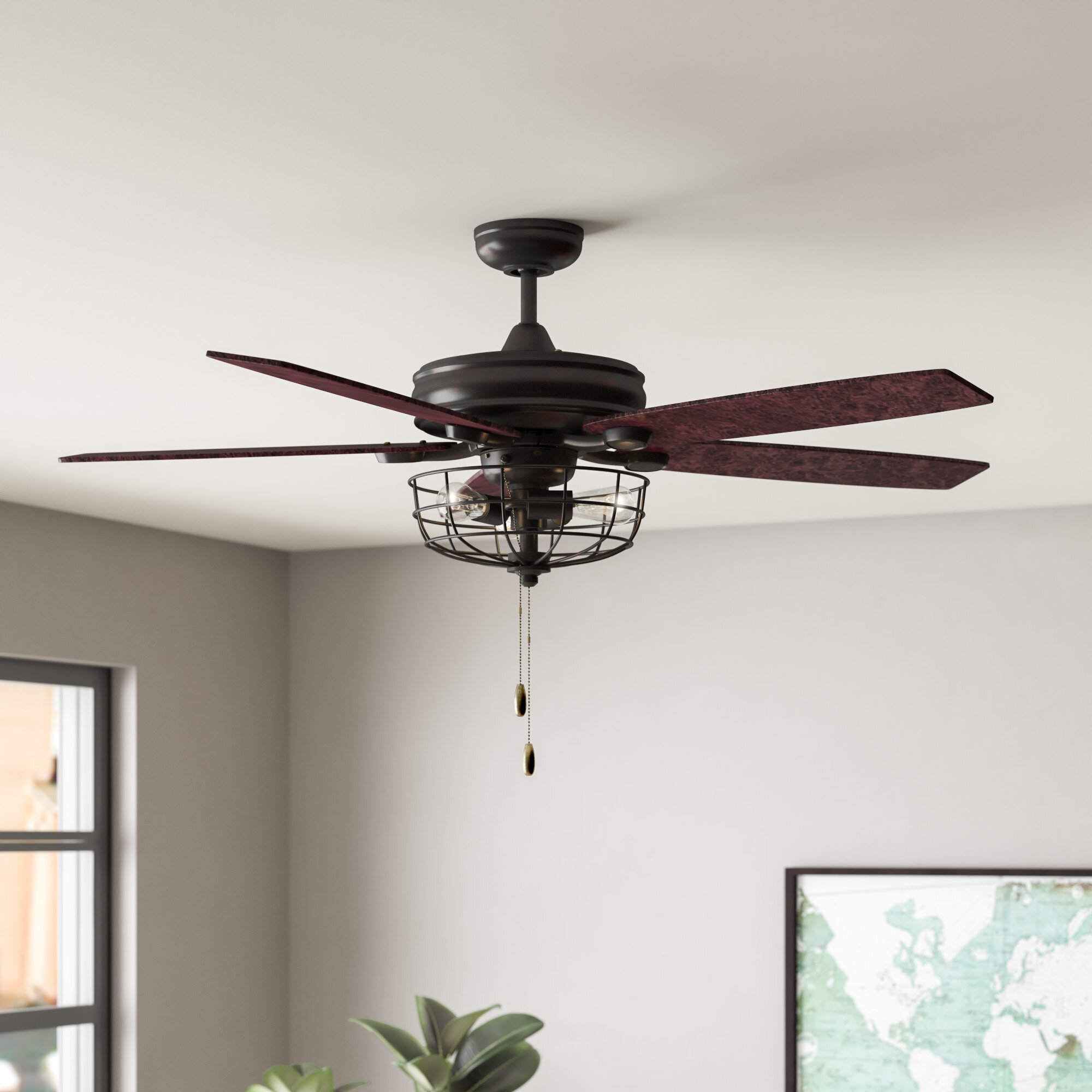 Trent Austin Design 52 Glenpool 5 Blade Caged Ceiling Fan With Pull Chain And Light Kit Included Reviews Wayfair