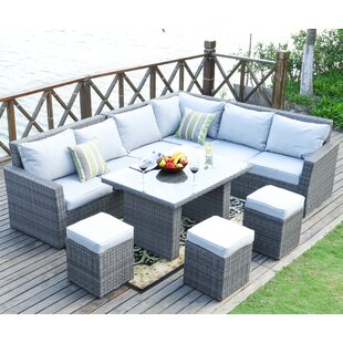 Iverson 8 Piece Rattan Sectional Seating Group with Cushions