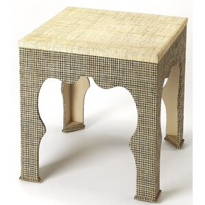 Elinore Houndstooth Raffia End Table by Bungalow Rose