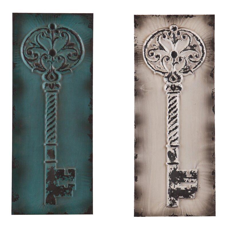 2 Piece Wolfson Vintage Key Wall Décor Set