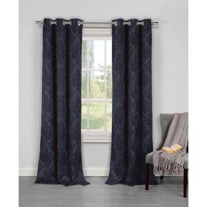 Eugenie Damask Room Darkening Curtain Panels (Set of 2)