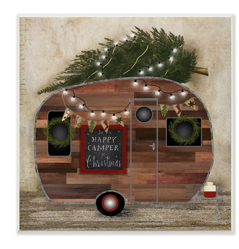 happy camper at christmas graphic art print - Camper Christmas Decorations