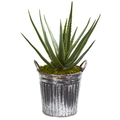 17 Stories Artificial Aloe Plant in Planter
