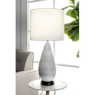 Ezzell Glass and Metal Linen Shade 27 Table Lamp