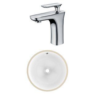 Coupon CSA Ceramic Circular Undermount Bathroom Sink with Faucet and Overflow ByAmerican Imaginations