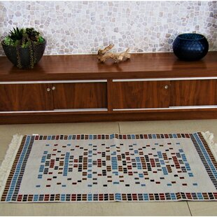 Accent Double Sided Cream/Blue/Black Indoor/Outdoor Area Rug
