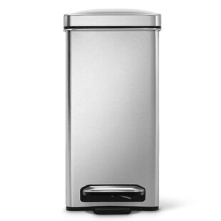 2.6 Gallon Profile Step Trash Can, Brushed Stainless Steel