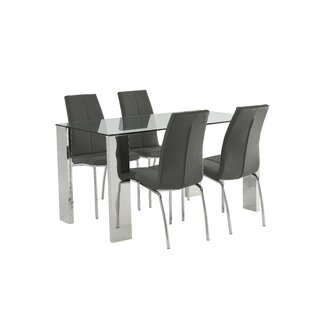 Jackie Dining Set With 4 Chairs By Metro Lane